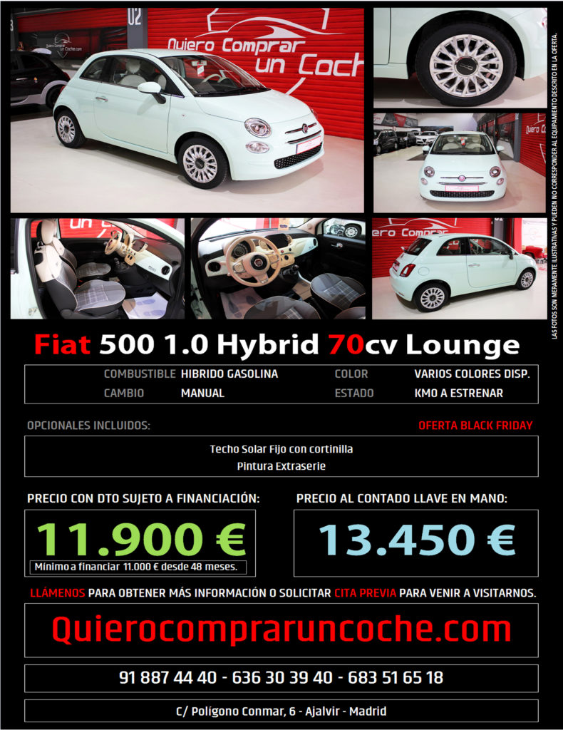FIAT 500 HYBRID VERDE LATTEMENTA BLACK FRIDAY